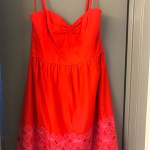 Trina Turk size 10 red and pink strapped dress